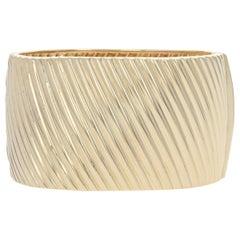 Yellow Gold Bracelet, 14 Karat Italian Ribbed Cuff