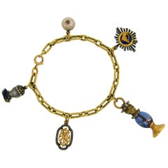 Yellow Gold Bracelet with Victorian Diamond Enamel Sapphire Charms
