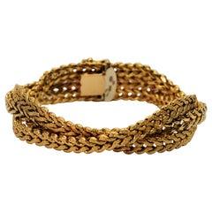 Italian 18 Karat Yellow Gold Braided Herringbone Wrap Chain Bracelet
