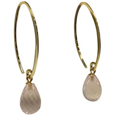 Yellow Gold Briolette Cut Rose Quartz Drop Earrings