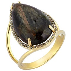 Yellow Gold Brown Diamond Pear Shaped Golden Brown Chocolate Sapphire Ring