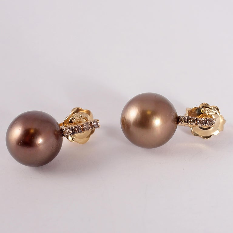Yellow Gold Brown Tahitian Pearl and Brown Diamond Earrings For Sale 3