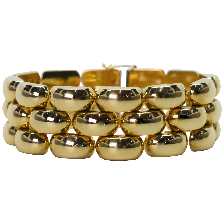 Bubble Link Yellow Gold Retro Bracelet