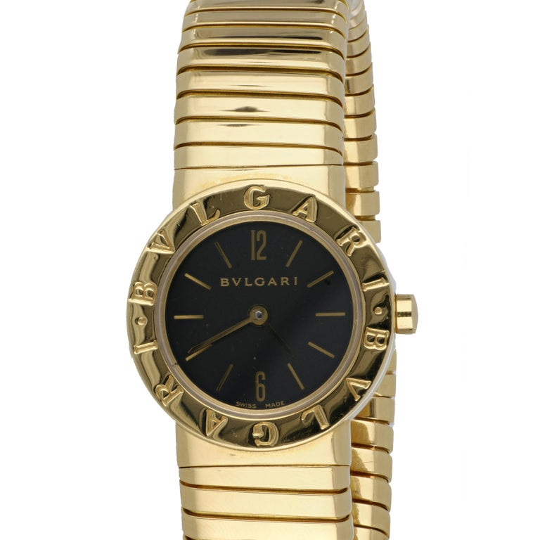 18K yellow gold ladies' watch by Bulgari.  It is from the Tubogas collection, Model BB232T.  Stamped with Serial #P.39341.  It is a quartz movement.  The face of the watch measures 7/8