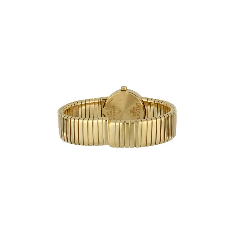 Yellow Gold Bulgari Tubogas Ladies Watch In Good Condition For Sale In Houston, TX