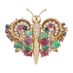 Yellow Gold Butterfly Convertible Pin
