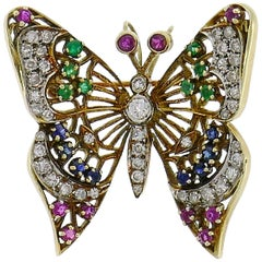 Vintage Gold Butterfly Pin Brooch Clip with Diamond Ruby Sapphire Emerald, 1950s