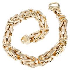 Yellow Gold Byzantine Heavy Link Men's Bracelet