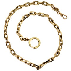 Yellow Gold Cable Style Straight Pocket Watch Chain or Necklace