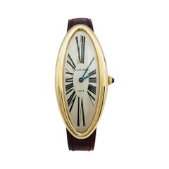 """Yellow Gold Cartier Baignoire Watch """"Maxi Oval"""" Collection, Leather Band"""
