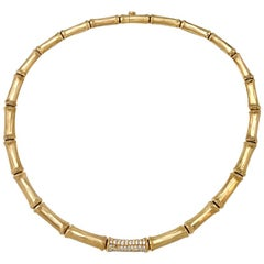 "Yellow Gold Cartier ""Bamboo"" Necklace with Diamonds"