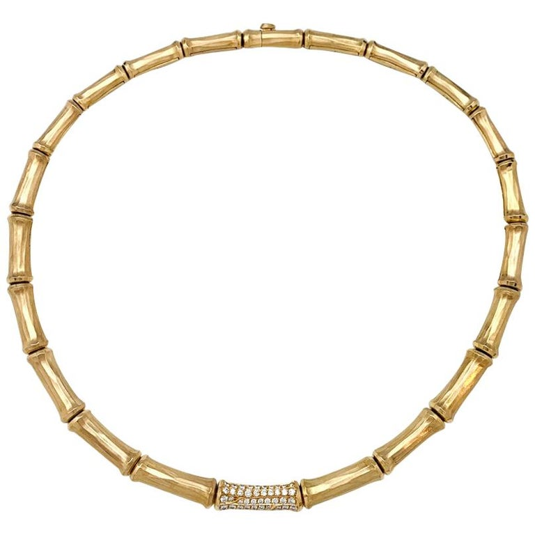 """Yellow Gold Cartier """"Bamboo"""" Necklace with Diamonds For Sale"""