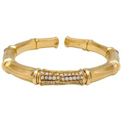 """Yellow Gold Cartier Bracelet """"Bamboo"""" Collection with Diamonds"""