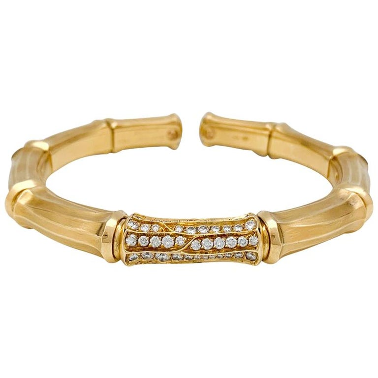 """Yellow Gold Cartier Bracelet """"Bamboo"""" Collection with Diamonds For Sale"""