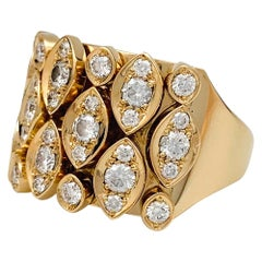 "Yellow Gold Cartier ""Diadea"" Ring, Diamonds"