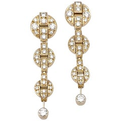 """Yellow Gold Cartier """"Himalia"""" Earrings, Diamonds"""