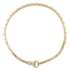 """Yellow Gold Cartier Necklace, """"Agrafe"""" Collection Set with Brilliants"""