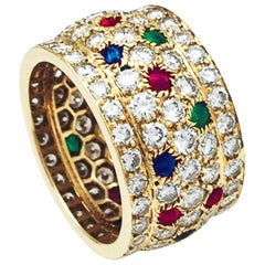 Yellow Gold Cartier Ring, Nigeria Collection, Diamonds and Colored Stones