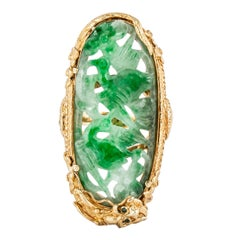 22K Yellow Gold Carved Jadeite Ring