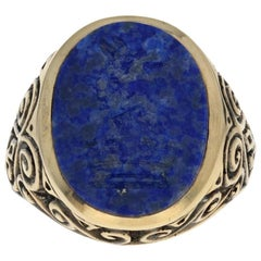 Yellow Gold Carved Lapis Lazuli Intaglio Ring, 9 Karat Men's Heraldic Signet