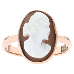 Yellow Gold Carved Shell Cameo Vintage Solitaire Ring, 14k Woman's Silhouette