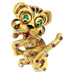 Yellow Gold Cat Pin with Diamonds Rubies and Emeralds