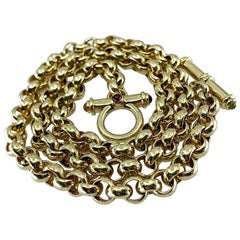 Yellow Gold Chain Necklace with Gemstone-Tipped Toggle Clasp