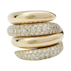 """Yellow Gold Chaumet Rings """"Tango"""" Collection, Diamonds"""