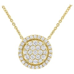 Yellow Gold Circle Pendant with the Diamonds