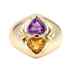 Yellow Gold Citrine and Amethyst Wide Ring