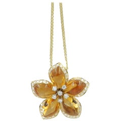 Yellow Gold Citrine and Diamonds Garavelli Flower Pendant with Chain