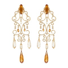 Yellow Gold Citrine Chandelier Earrings