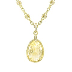Yellow Gold Citrine, Diamond and Yellow Sapphire Pendant and Diamond Necklace
