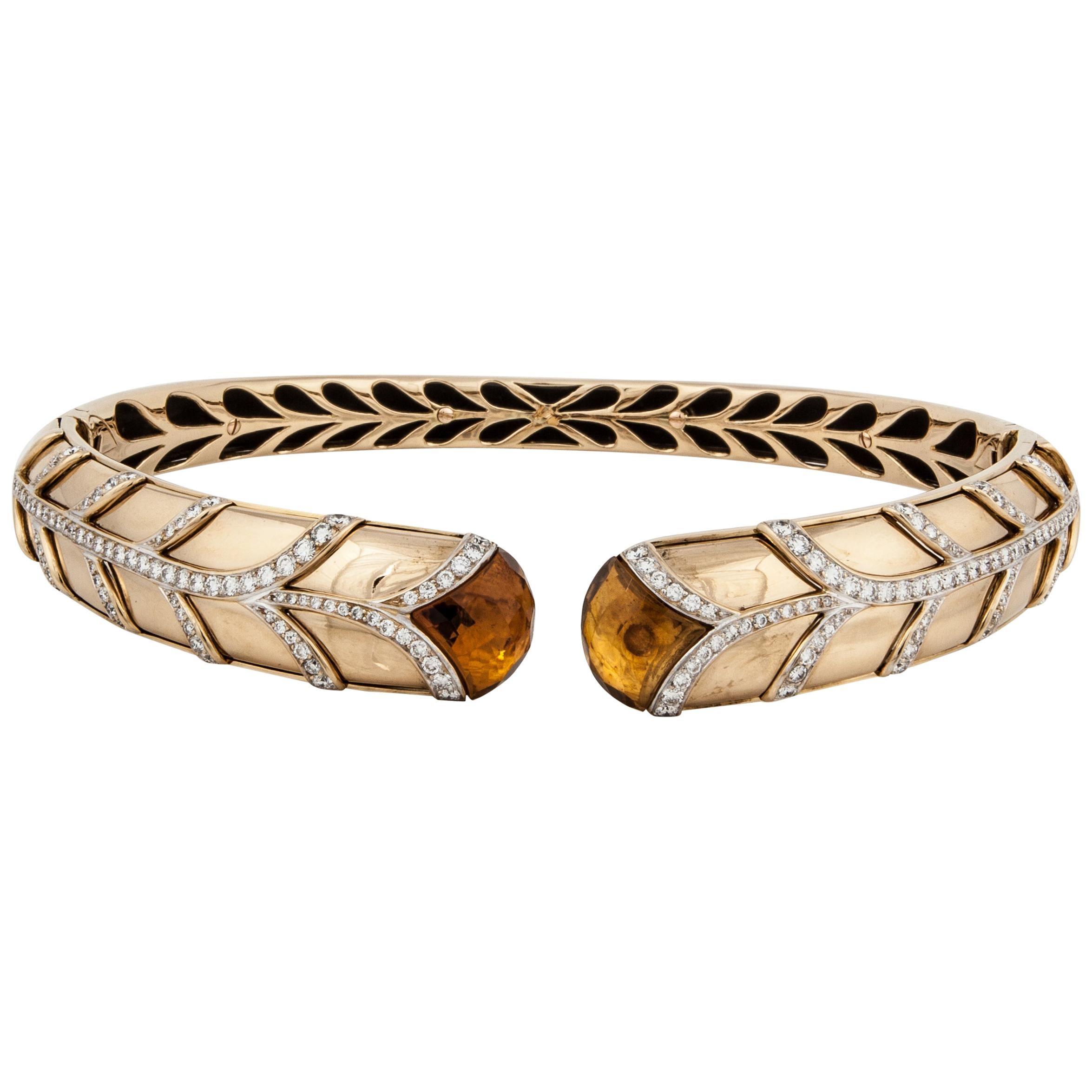 Yellow Gold Citrine Diamond Collar Necklace