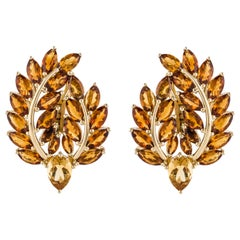 Yellow Gold Citrine Leaf Earrings