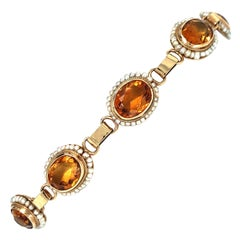Yellow Gold Citrine Seed Pearl Bracelet