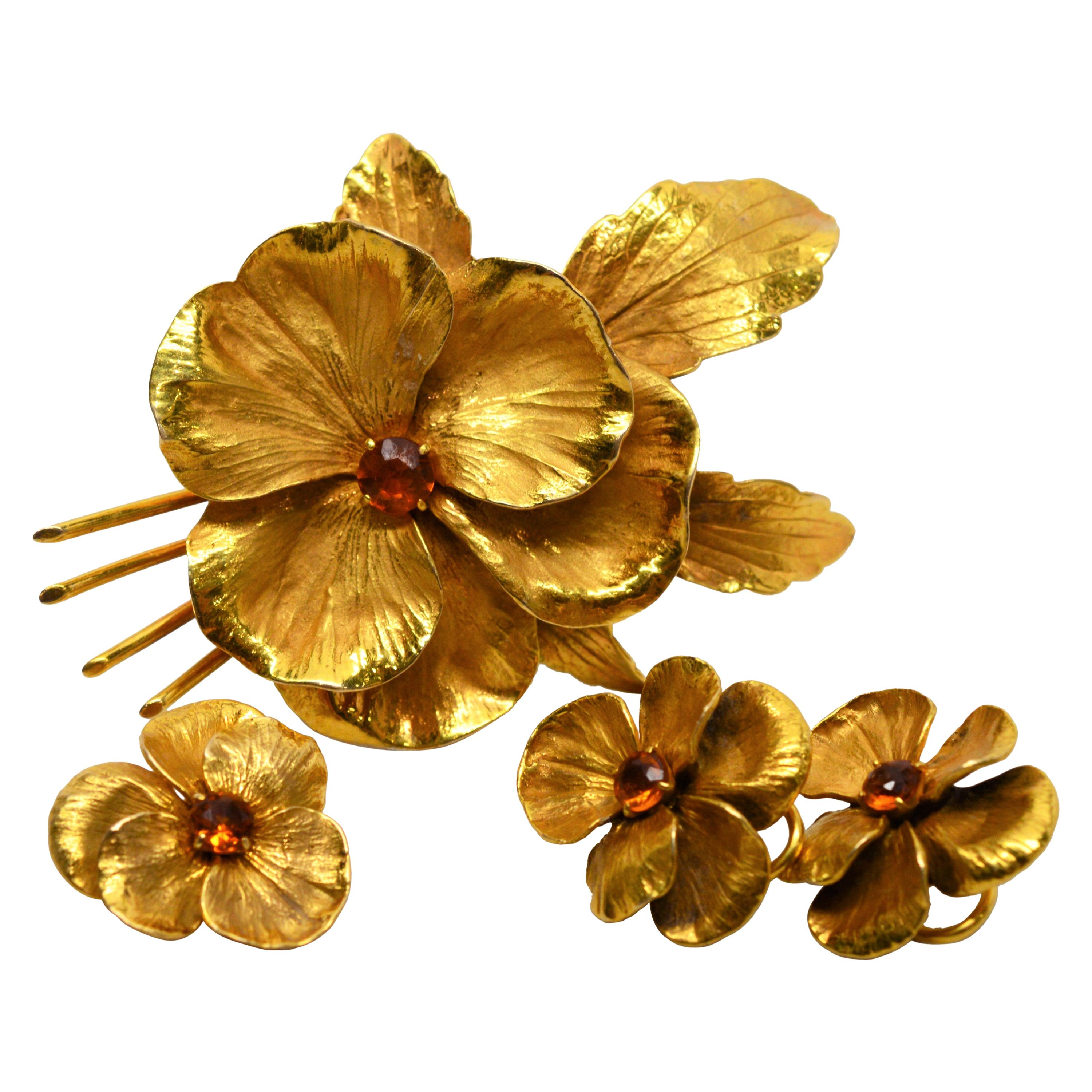 Yellow Gold Floral Suite Earrings Brooch Duo w Citrine
