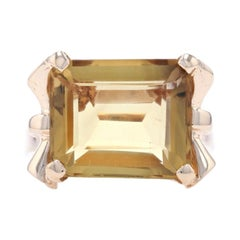 Yellow Gold Citrine Vintage Cocktail Solitaire Ring, 14k Emerald Cut 8.10ct Bows