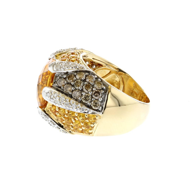 Yellow Gold Citrine Yellow Sapphire Diamond Ring In Good Condition For Sale In Houston, TX