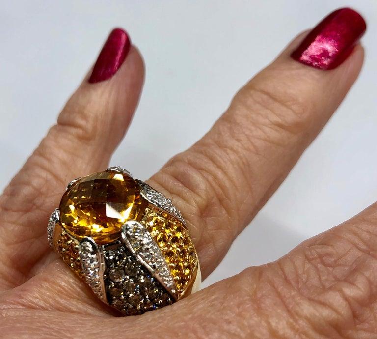 Women's or Men's Yellow Gold Citrine Yellow Sapphire Diamond Ring For Sale
