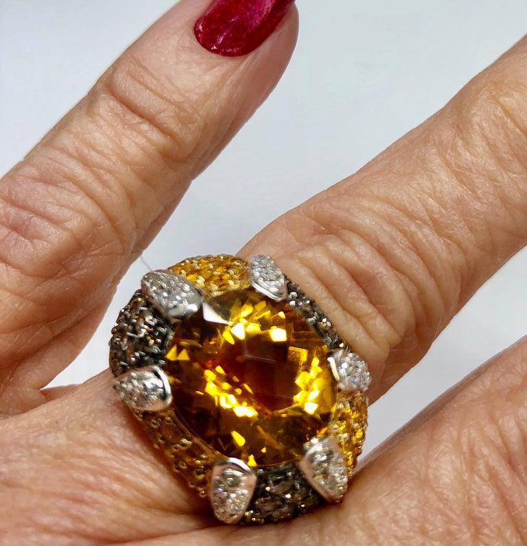 Yellow Gold Citrine Yellow Sapphire Diamond Ring For Sale 1