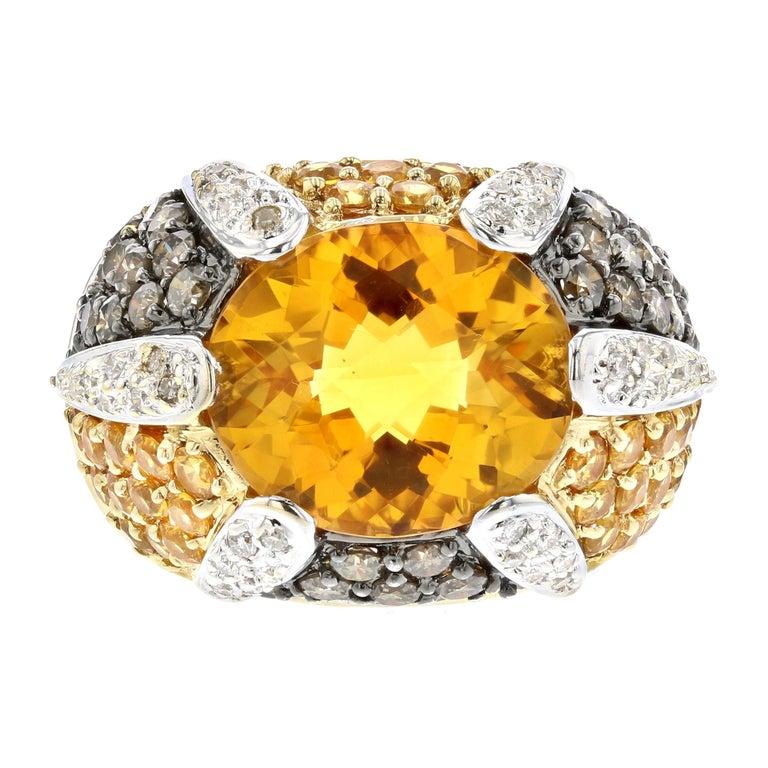 Yellow Gold Citrine Yellow Sapphire Diamond Ring For Sale