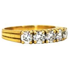 Yellow Gold Classic Vintage Diamond 5-Stone Band Ring