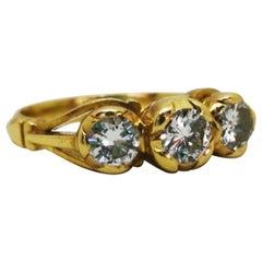Yellow Gold Classic Vintage White Diamond Three-Stone Ring