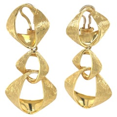 Yellow Gold Clip on Triple Large Link Dangle Earrings