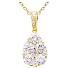 Yellow Gold Cluster Drop Pendant Necklace