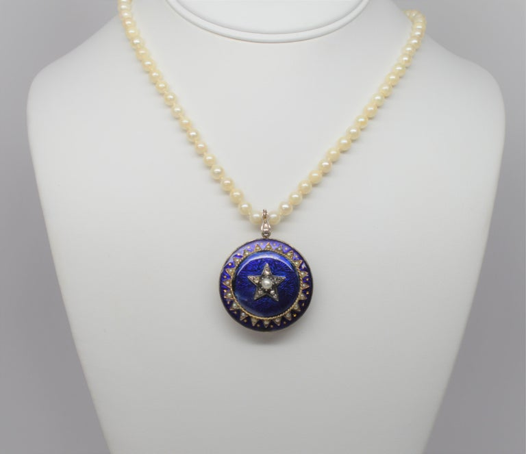 Gold Cobalt Blue Enamel Brooch Pendant Pearl Necklace with Diamond Accents In Good Condition For Sale In Mount Kisco, NY