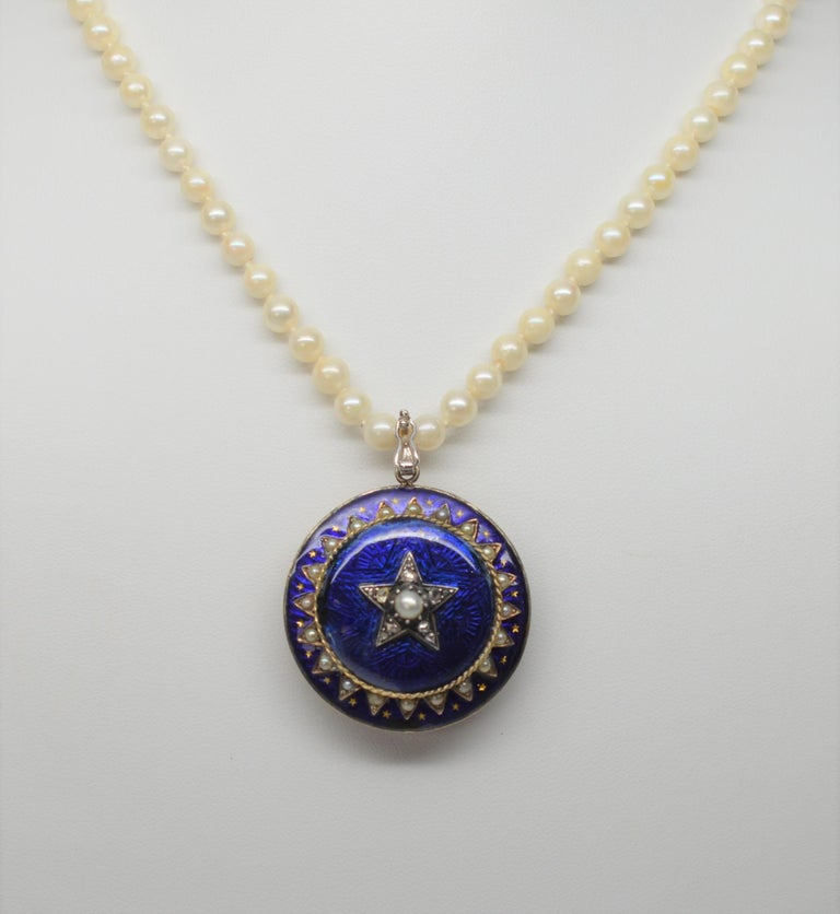 Women's Gold Cobalt Blue Enamel Brooch Pendant Pearl Necklace with Diamond Accents For Sale