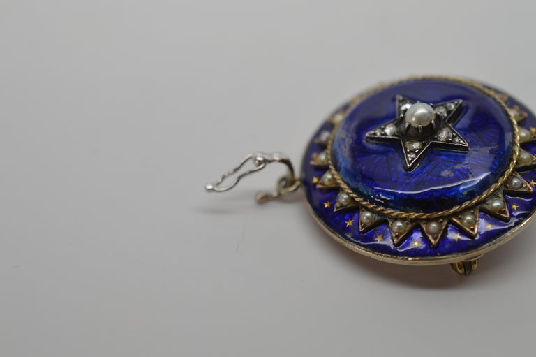 Gold Cobalt Blue Enamel Brooch Pendant Pearl Necklace with Diamond Accents For Sale 4