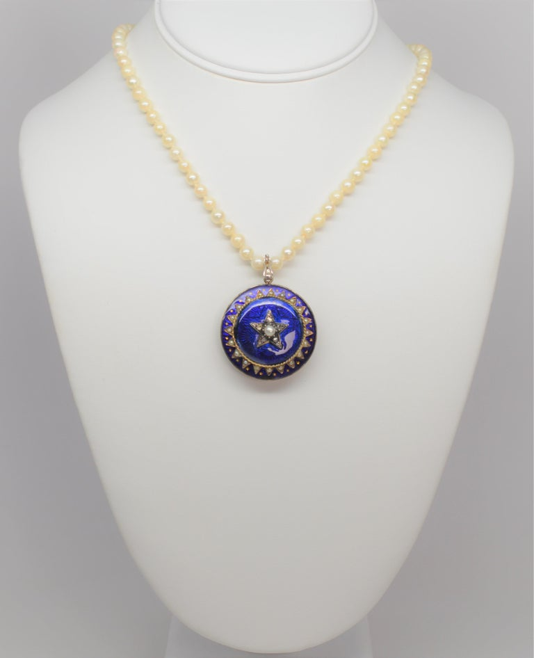 Gold Cobalt Blue Enamel Brooch Pendant Pearl Necklace with Diamond Accents For Sale 5